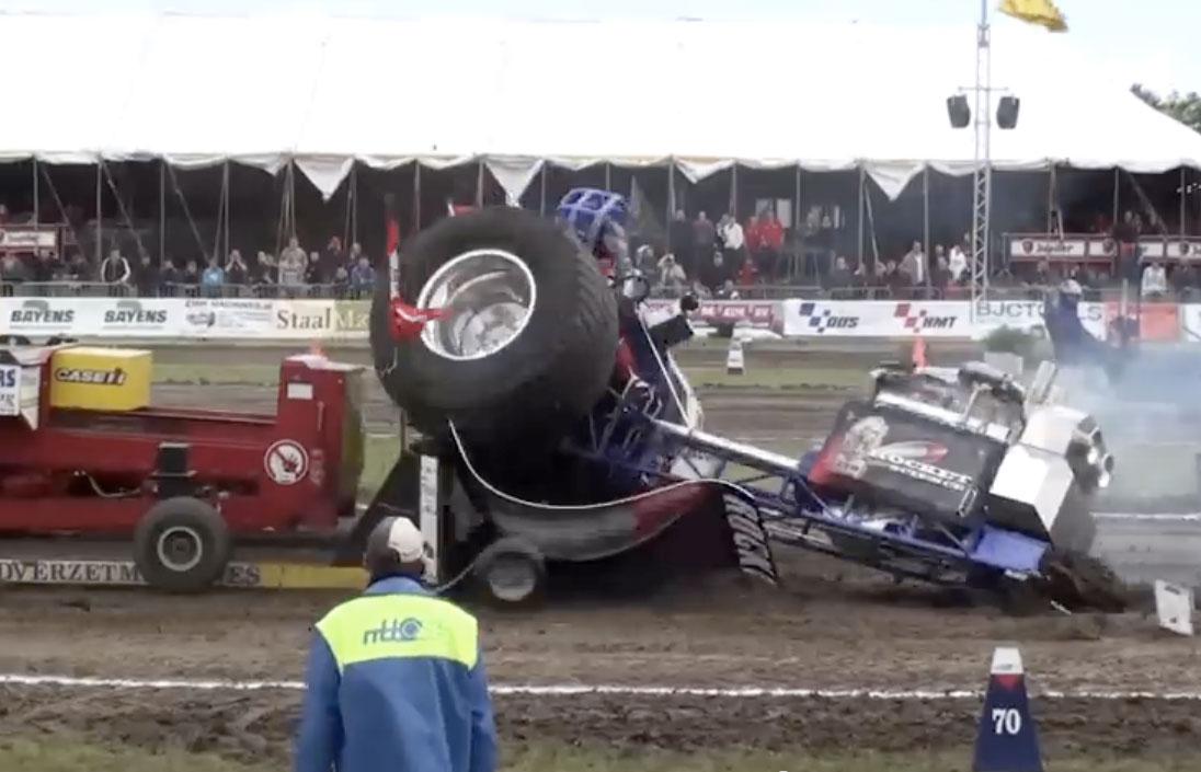 Tractor Pulling Accidents : Bangshift violent european tractor pulling wreck