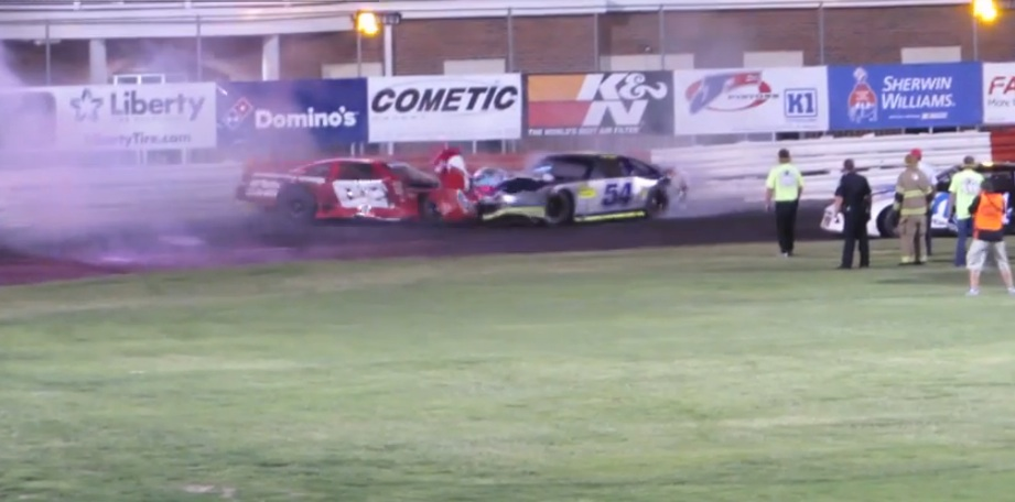 Watch Two Stock Car Racers In A Blind Rage Turn Bowman Gray Stadium Into A Two Man Demo Derby Ring During A Race!