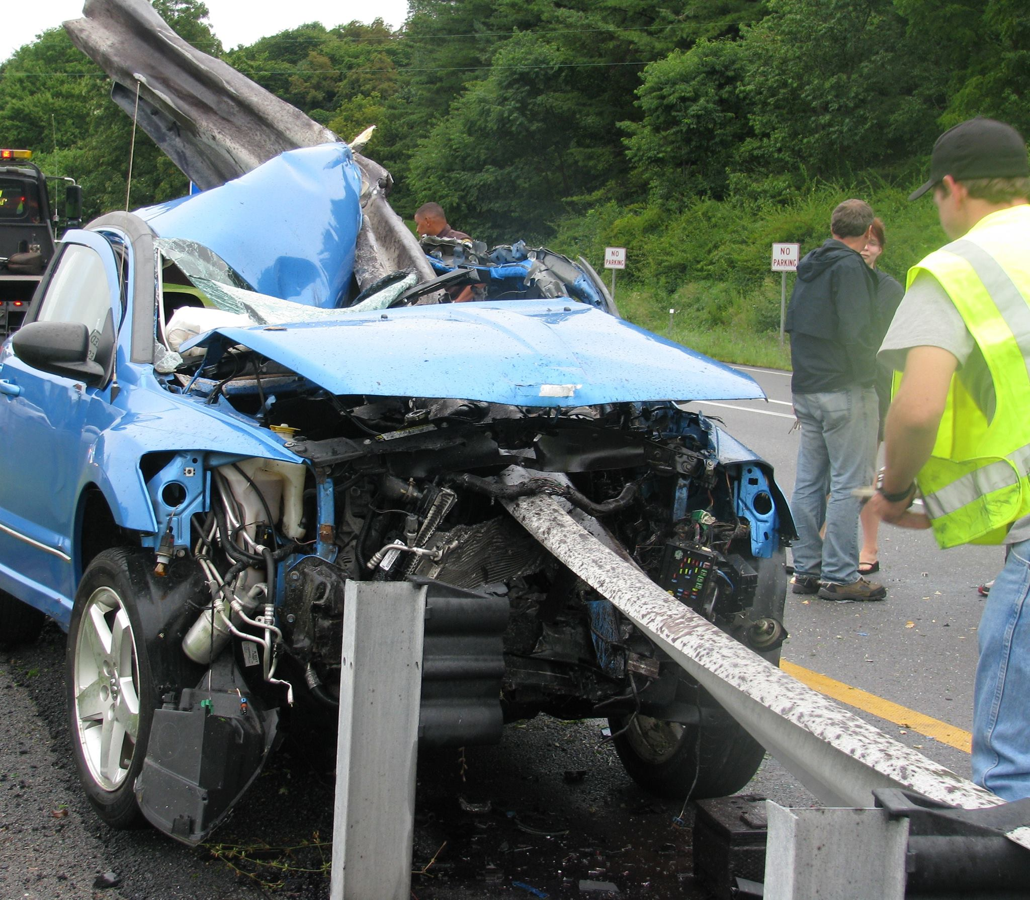 Virginia Man's Car Skewered By Guardrail In Wreck And He Emerges Completely Unscathed