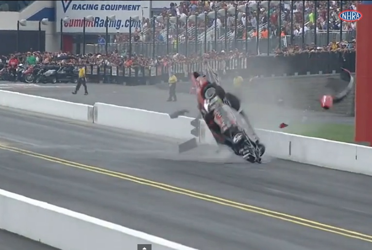 Watch NHRA Pro Stock Racer V. Gaines Suffer A Massive Barrel Rolling Top End Wreck At zMax Dragway