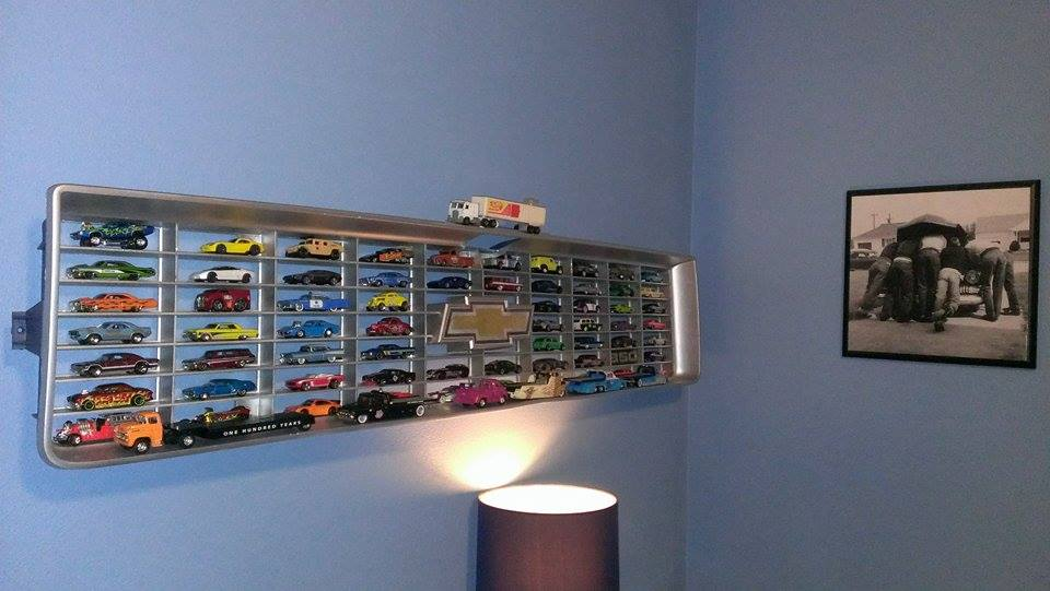 BangShift Interior Decorating Pro Tip: How To Use A Chevy Truck Grill To Store Your Hot Wheels Cars Like A Boss