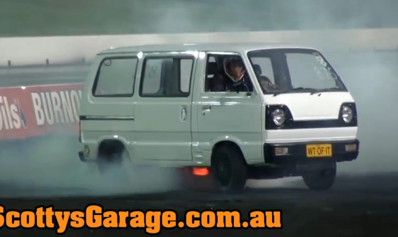 Watch This Tiny, Rotary Powered Van Put On A Heck Of A Show At An Aussie Burnout Contest