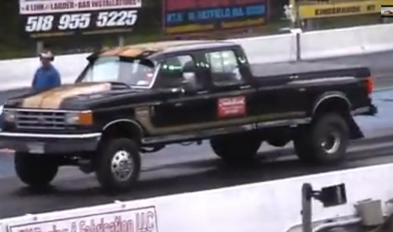 Watching This Massive 1990s, 4×4 , Crew Cab Ford Dually Run 13s At Lebanon Valley Will Make You Smile