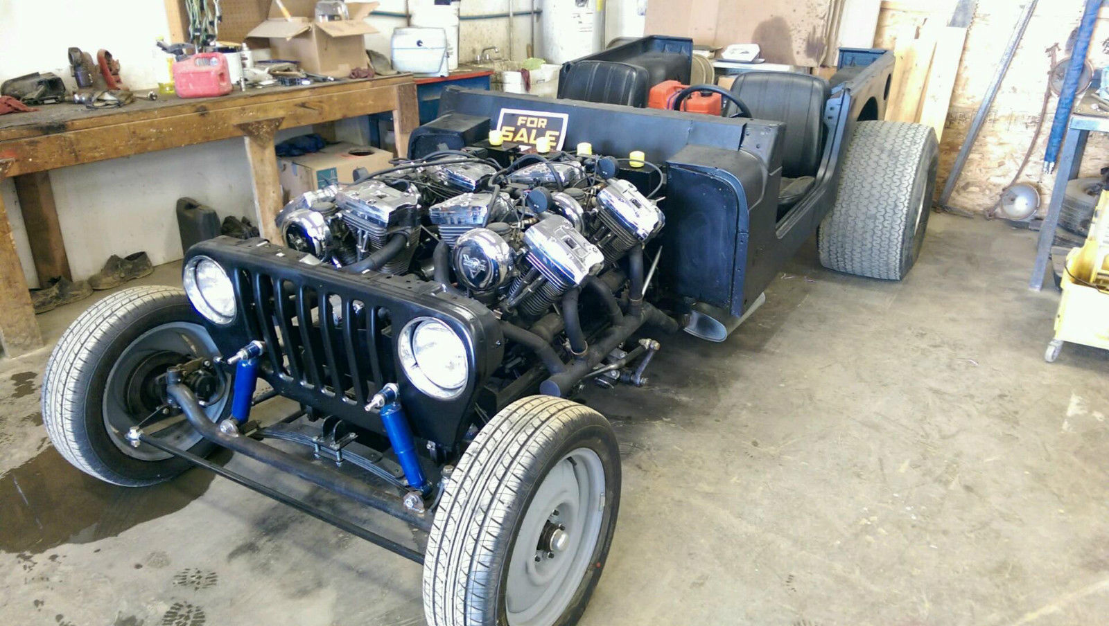 This Wild Jeep Project Is Powered By Four Harley-Davidson Engines: It Runs And Drives!