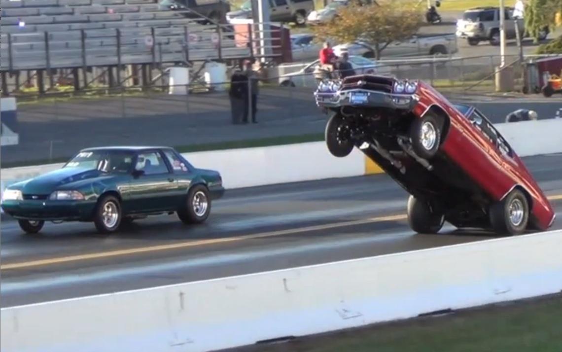 Mustang cobra jet wheelie crash