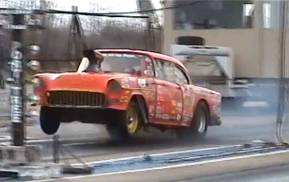Watch This Old School Small Block, Stick Shift 1955 Chevy Rip Gears At A Rustic Strip In Arkansas