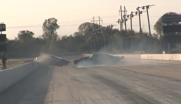 No Prep Wreckage: Watch The Hellanor Mustang Eat The Wall While The Street Outlaws Split Bumper Camaro Barely Avoids The Same Fate