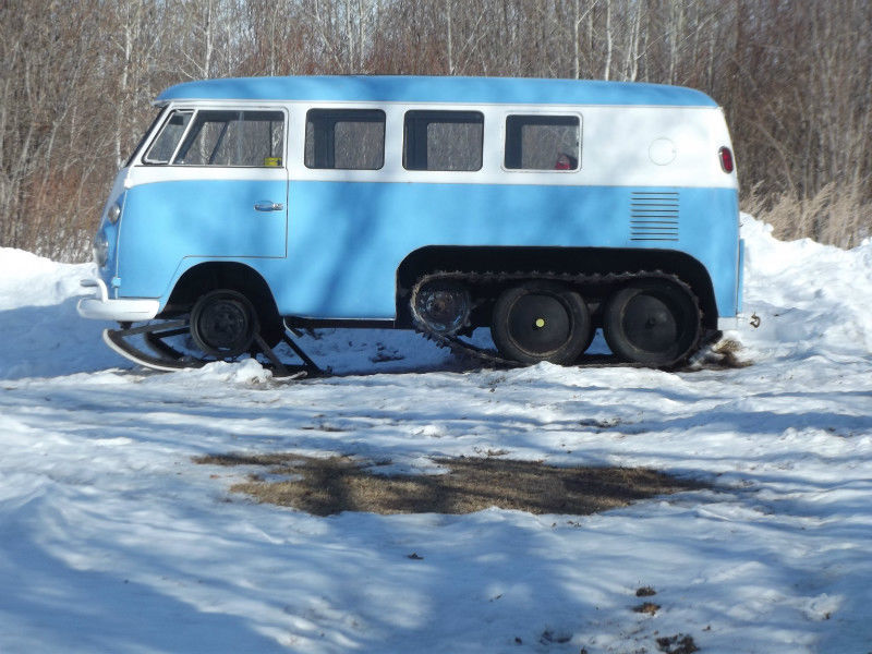 The Most BangShifty VW Bus Ever Built Has Tracks, Skis, and Inliner Ford Power – Canadian Creation Is For Sale