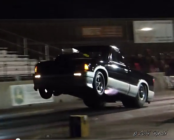 Watch The Daddy Dave S10 Leave The Starting Line With Fire In The Pipes And The Wheels UP At Kennedale Raceway