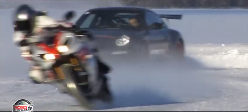 Are You A Masochist That Likes The Snow? Then These Car Vs. Bike Races On The Cold Stuff Are For You!