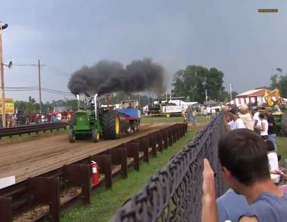 Watch This Awesome Straight Piped, 12V-71 Detroit Diesel Powered John Deere 5012 Have Fun Hooked To The Pulling Sled