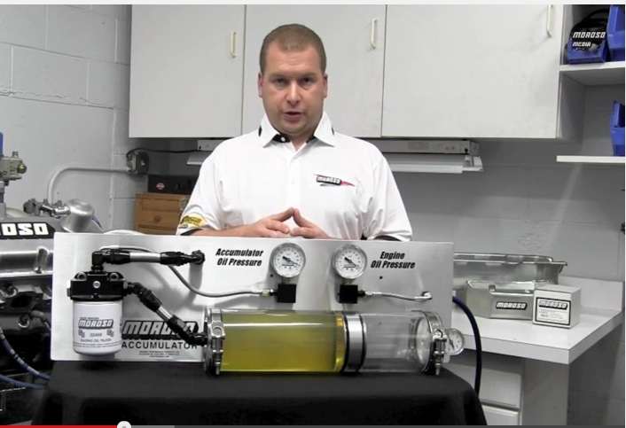 Tech Video: Watch As Moroso's Scott Hall Demonstrates How An Oil Accumulator Works By Using A Clear Oil Accumulator – Fascinating!