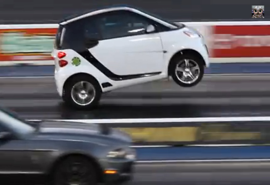 Watch This Wheelstanding Smart Car Run 12s And Lay Waste To Mustangs – Hilarity On The Strip!