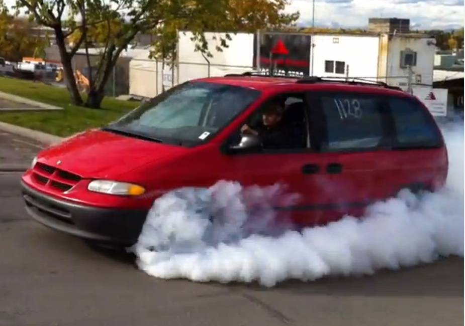 A Neon SRT-4 Engine On 35psi Of Boost In A Mini-Van Makes For The Greatest Burnout Machine Ever