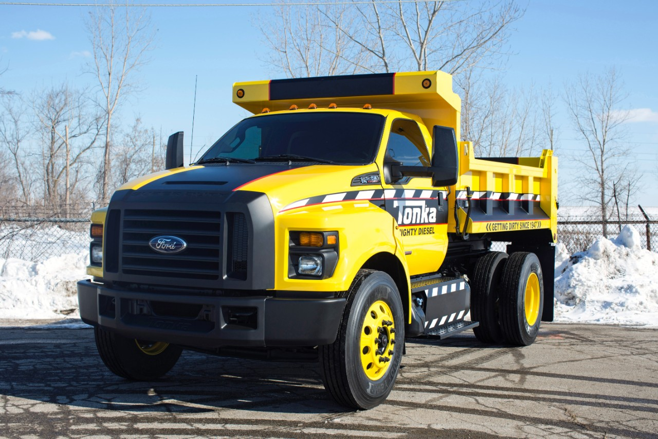 Ford Unveils Newest Generation F-750 With Mighty Ford F-750 Tonka Themed Dump Truck