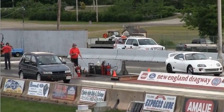 Best Of BS 2015: Watch This Lame Looking Eagle Summit Hand A Mustang And A Supra Their Lunch At The Drag Strip