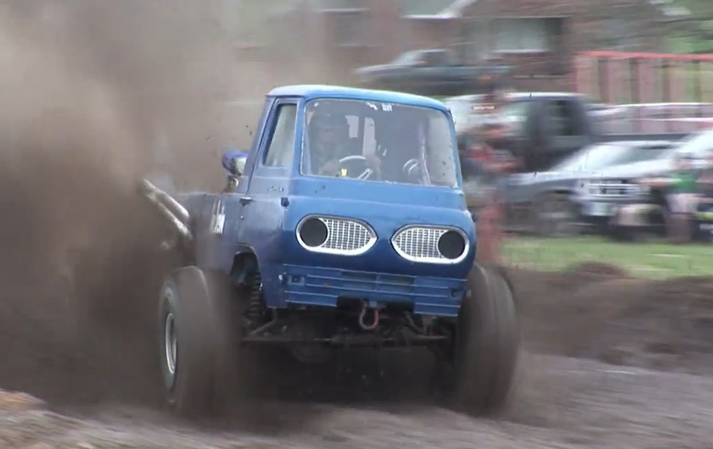 Watch This Ford Econoline From Hell Obliterate A Mud Pit From A Bunch Of Angles – Gnarly!