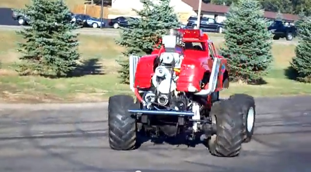 This 600hp V8-powered, Four Wheel Drive, Four Wheel Steering Midget Truck Is Insanity Painted Red