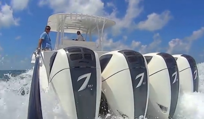 Here's What $272,000 Worth Of Seven Marine Outboard Engines Look Like Hanging Off The Back Of The Same Boat – 2,228HP!