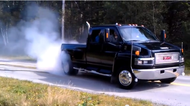 Repaving The Road With A GMC TopKick 4500 The BangShift Way! Medium Duty Burnout For The Win!