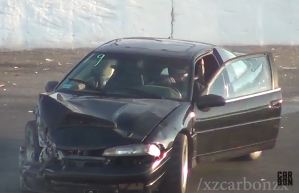 Watch This Eagle Talon Go High and Eat The Wall During The Spectator Drags At Seekonk Speedway
