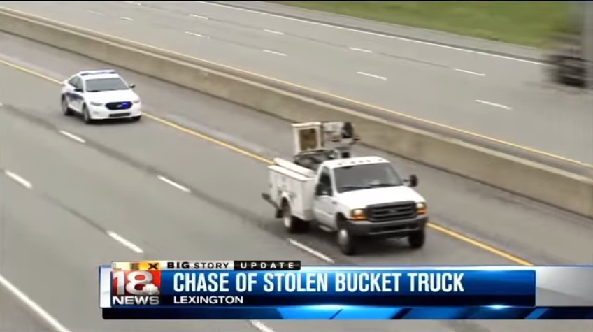 Who Would Get Into A Car Chase Using A Bucket Truck? This Crazy Chick Apparently!