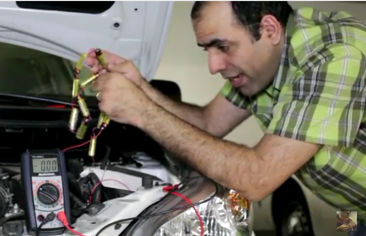 You Can Jump Your Car With 12 AA Batteries – We're Not Kidding, Watch This Unibrowed Genius Do It