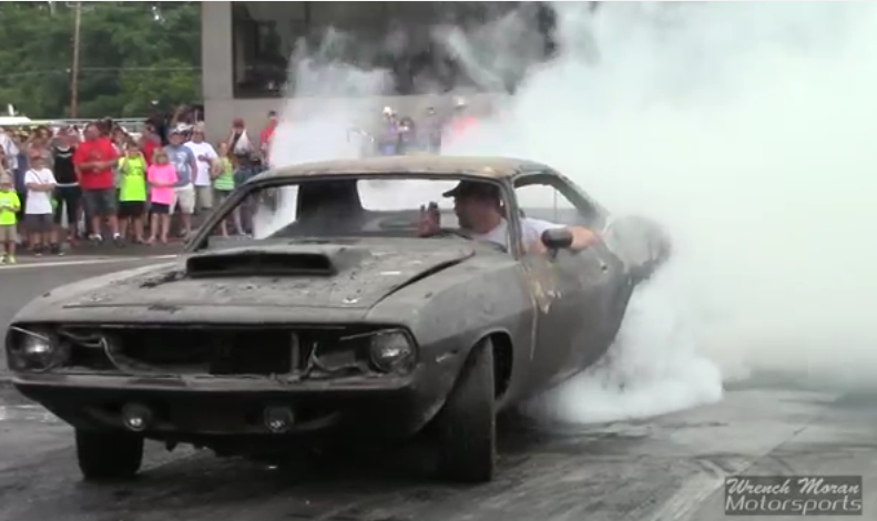 When Your 1970 'Cuda Burns Down You Don't Quit, You Enter A Burnout Contest Like This Guy