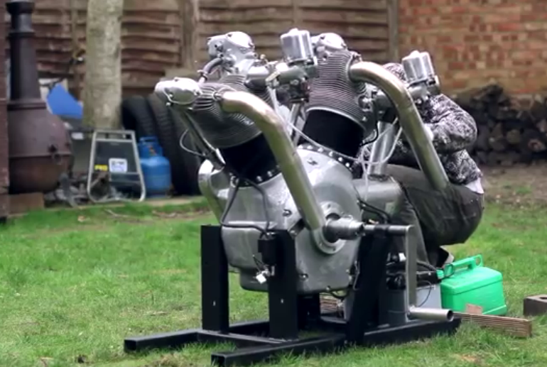 This 5-Liter V-Twin Engine Was Created From Two Radial Aircraft Engine Clyinders And Lots Of Skill – It Roars