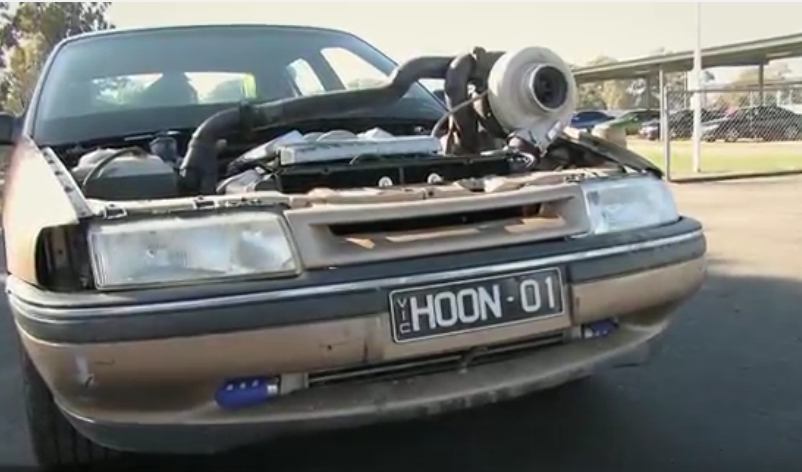 """The Aussie Verison Of A """"No Fs Given"""" Build Involves A Turbo Hanging Out, Huge Burnouts, And Fire (Video)"""