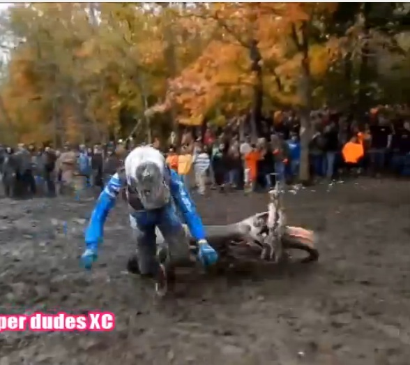 Thee Minutes Of Muck And Pain: Wild Video Of Dirt Bike Racers Wiping Out In The Same Mucky Pit Following A Jump – Hilarious and Painful Looking