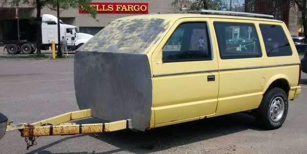 Brilliant BangShifty CL Find: This Old Mini-Van Was Made Into An Ice Fishing Hut!