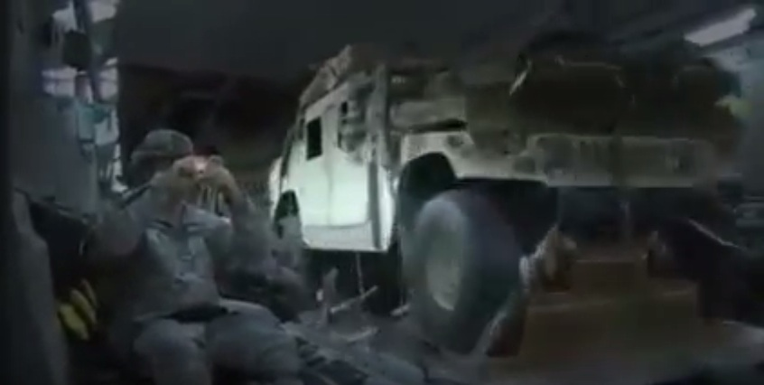 Holy Crap! Watch Military Trucks, Humvees To Be Exact Get Launched Out Of A Plane!