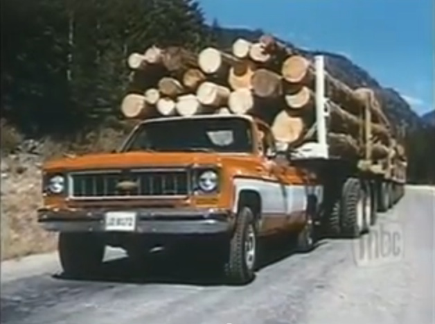 1970s Chevy Truck Advertising Perfection: Watch This Pickup Drag 178 Tons Of Logs!