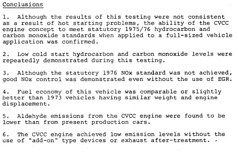 CVCC Impala EPA report