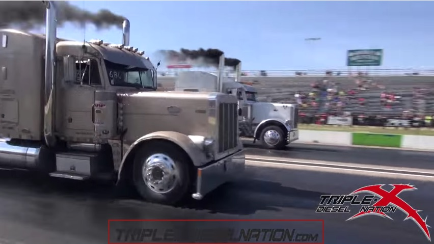 They May Not Be The Fastest, But Big Rigs Rolling Coal On The Strip Is Awesome!