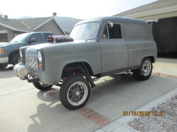 This small block 4 speed 1954 anglia gasser is only a paint job away