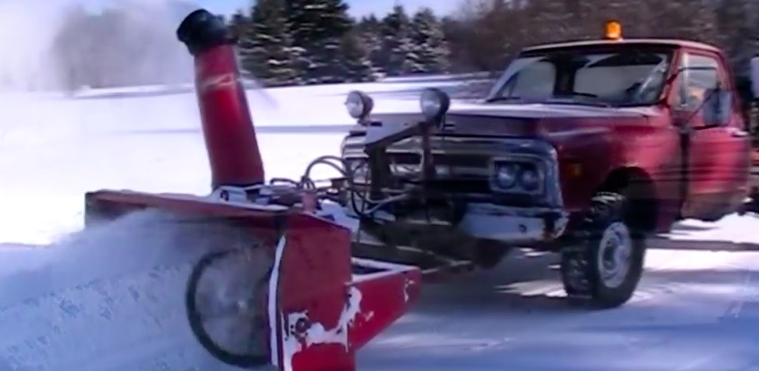 An Old Chevy, A Detroit Diesel, and a Tractor Snow Blower Equal Epic Win