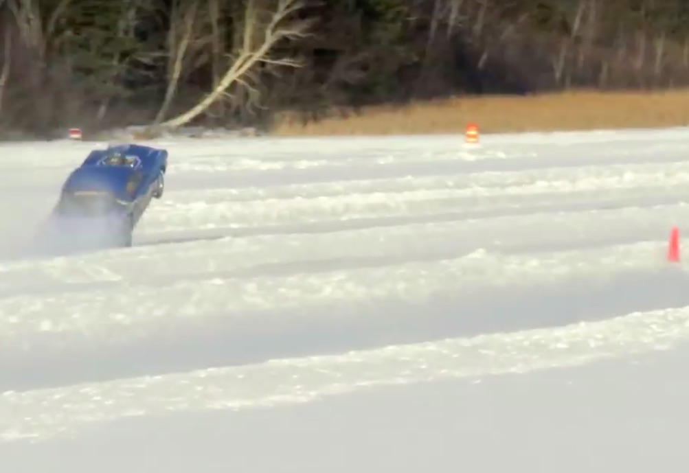 Watch A Mustang Pull A Power Wheelie At The Eighth Mile On Ice During The Merrill ICE Drags!