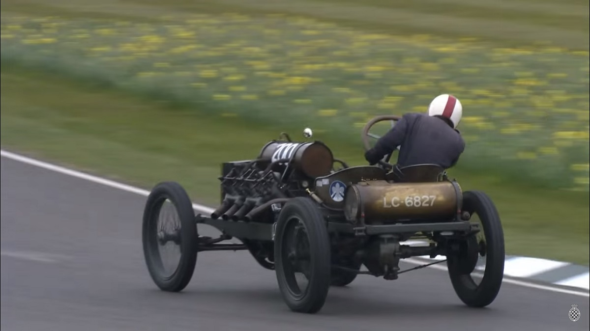 Watch The 1905 Darracq 200hp, 25-liter, Minuscule Tire Equipped Monster Get Raced Flat Out!