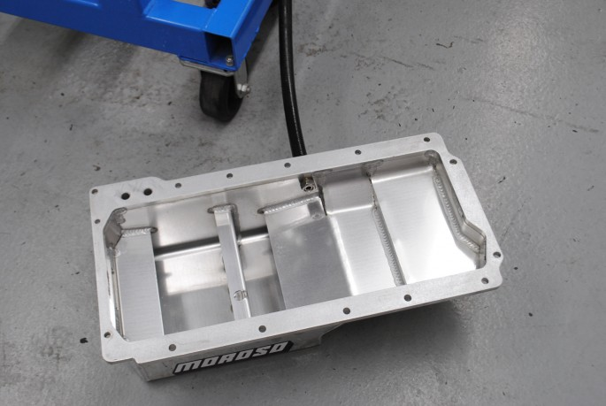 Knowing oil control was critical at high rpm, we installed a Moroso oil pan and matching windage tray.
