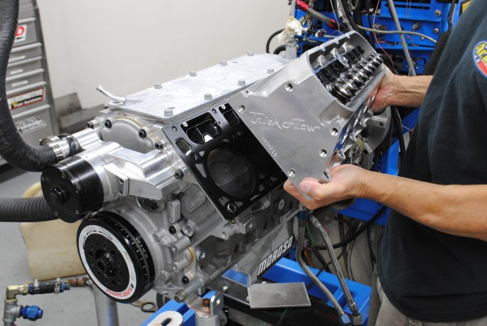 The heads were installed using ARP head studs and Fel Pro MLS head gaskets.
