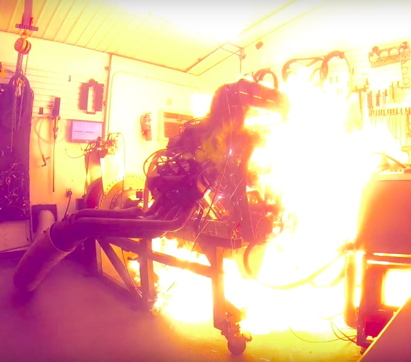 Watch This Blown Alcohol Hemi Explode In Flaming Glory On The Engine Dyno – Wild Stuff