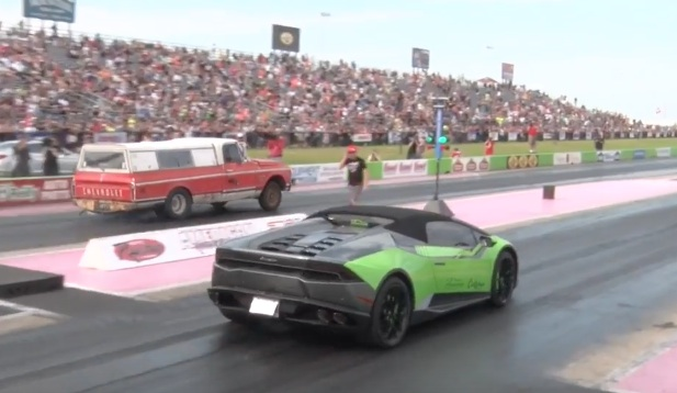 another one bites the dust farmtruck versus a lamborghini huracan when will they. Black Bedroom Furniture Sets. Home Design Ideas