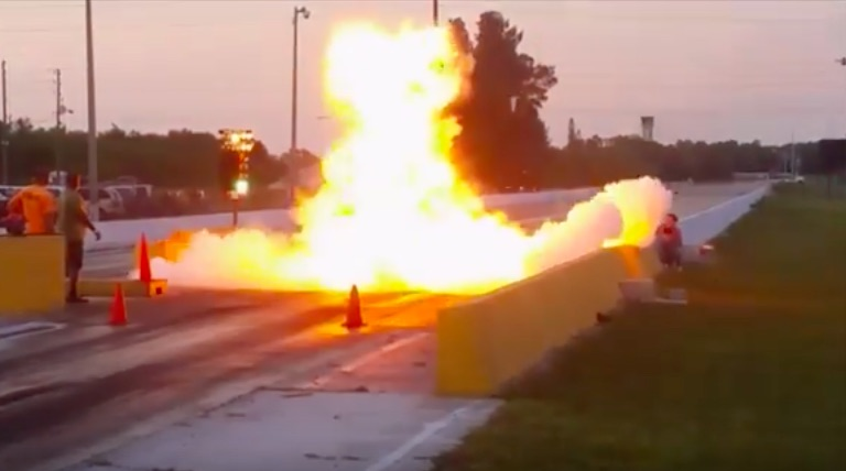 Watch The Most Over The Top Transmission Explosion We've Ever Seen On A Drag Strip
