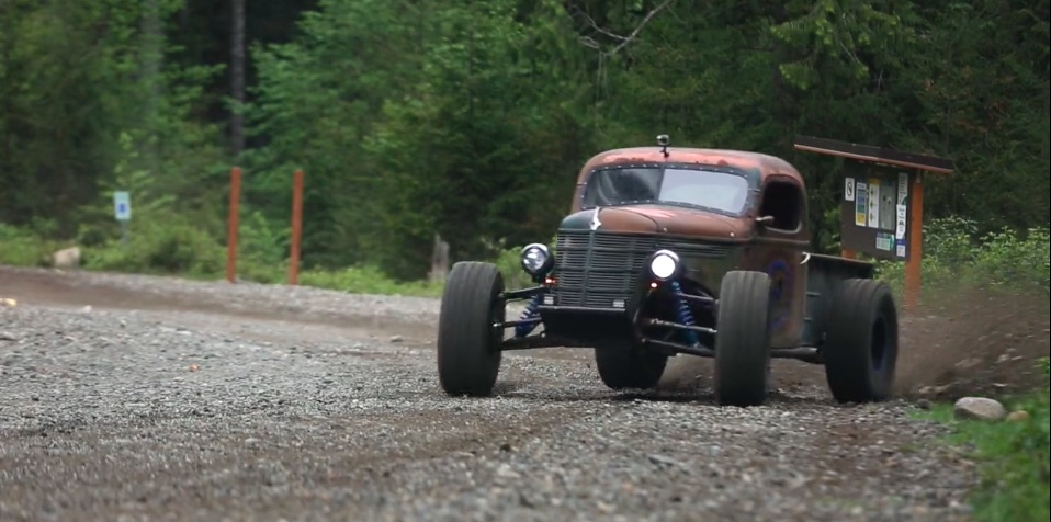 Watch The Awesome Trophy Rat Truck Attack The Woods With Jumps, Sideways Action, More