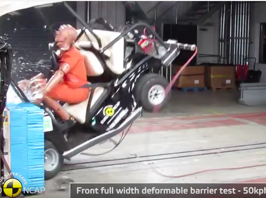 Video: Crash Testing A Golf Cart At 31mph Ends About As Badly As You'd Expect