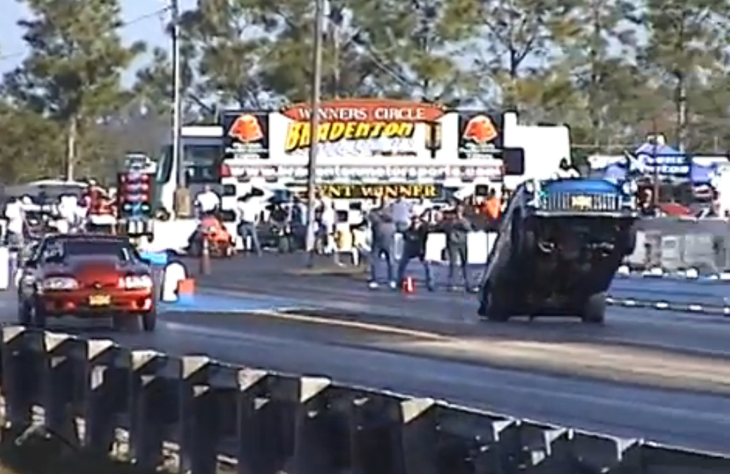 Watch This 1955 Chevy Pull A Massive Wheelie, Pogo Stick Down The Track And STILL Manage A 9.12 ET!