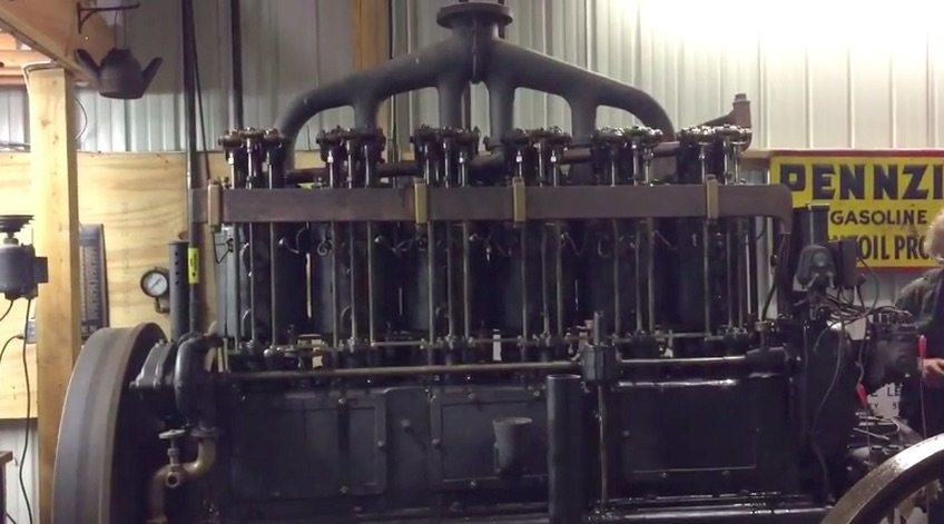Big Torque: Watch This Massive, Old Hall-Scott Rail Car Engine Fire Up And Clack Away