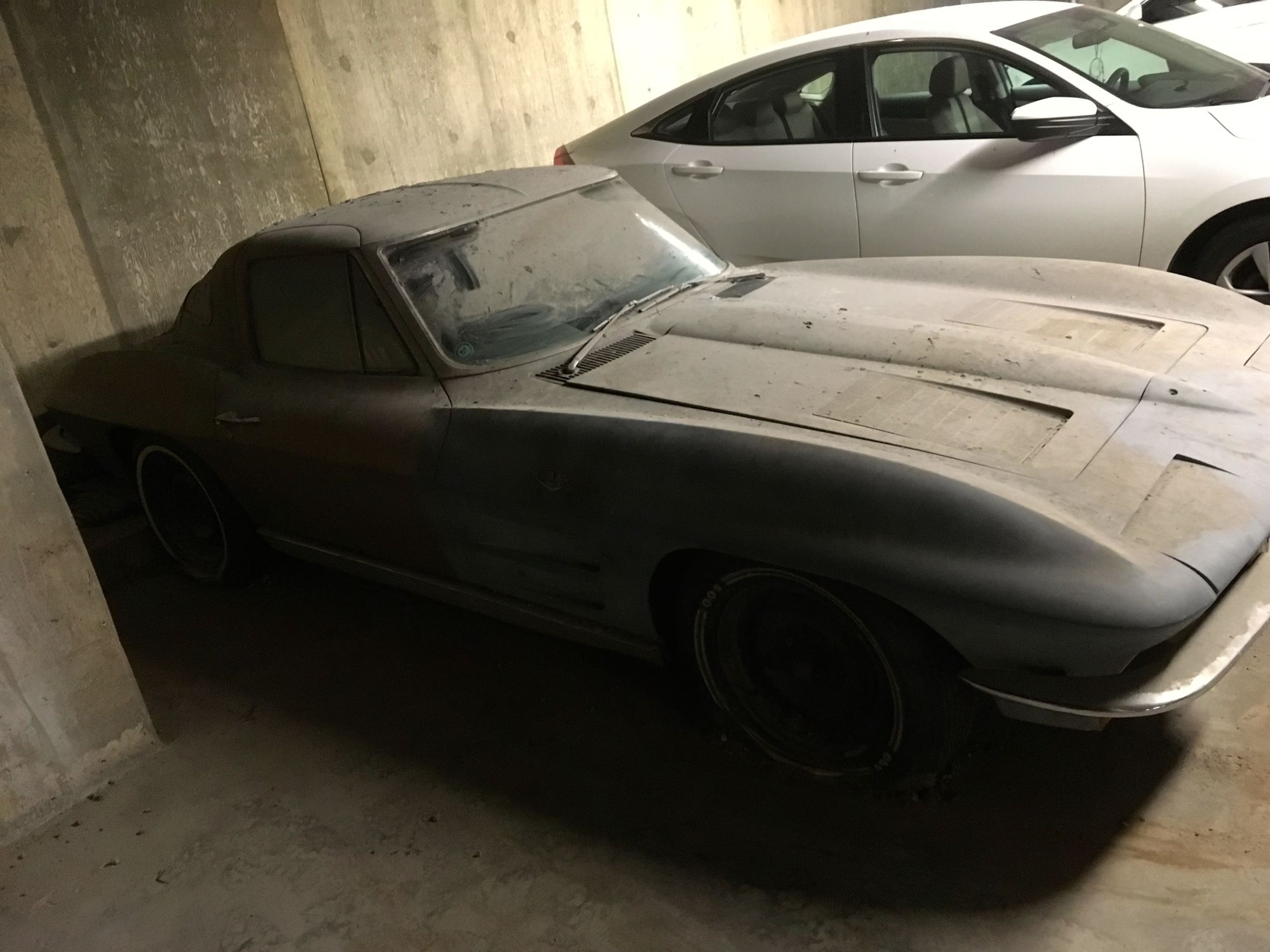 This 1963 Split Window Corvette Has Been Stored In A Parking Garage For Almost 40 Years